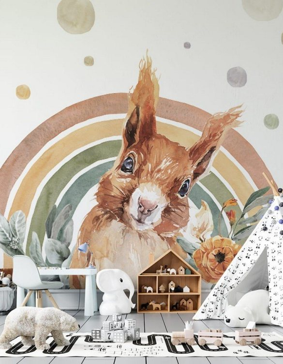 Sure to be adored by little ones, the Squirrel - Rainbow Forest Children's Wallpaper is a fun addition to any nursery or playroom. Go on an adventure with our kid's wallpaper for children's rooms! A well-chosen pattern can visually enlarge the interior.