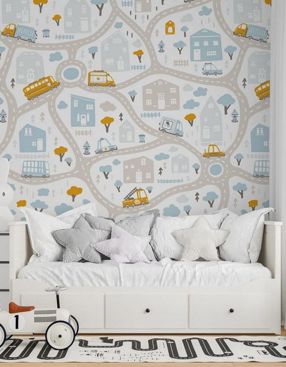 Sure to be adored by little ones, the Streets of the City 4 Children's Wallpaper is a fun addition to any nursery or playroom. Go on an adventure with our kid's wallpaper for children's rooms! A well-chosen pattern can visually enlarge the interior.