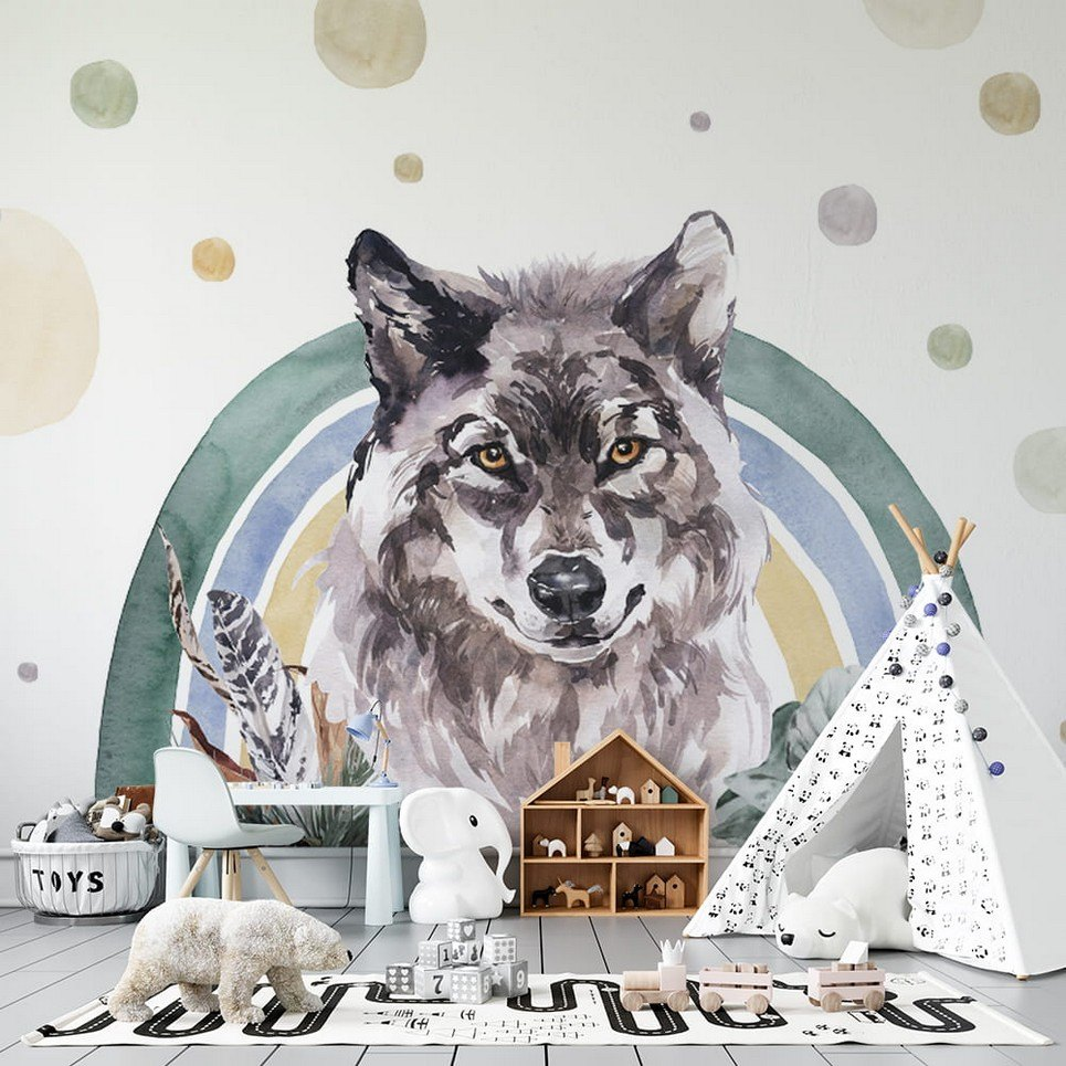 Wolf – Rainbow Forest Children's Wallpaper