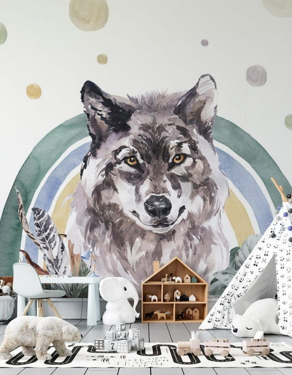 Sure to be adored by little ones, the Wolf - Rainbow Forest Children's Wallpaper is a fun addition to any nursery or playroom. Go on an adventure with our kid's wallpaper for children's rooms! A well-chosen pattern can visually enlarge the interior.