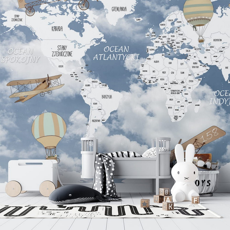 World Map of Retro Airplanes and Balloons 2 Children's Wallpaper