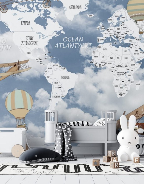 Sure to be adored by little ones, the World Map of Retro Airplanes and Balloons 2 Children's Wallpaper is a fun addition to any nursery or playroom. Go on an adventure with our kid's wallpaper for children's rooms! A well-chosen pattern can visually enlarge the interior.