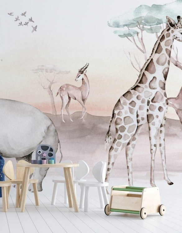Sure to be adored by little ones, the Jungle and Friends 16 Children's Wallpaper is a fun addition to any nursery or playroom. Go on an adventure with our kid's wallpaper for children's rooms! A well-chosen pattern can visually enlarge the interior.