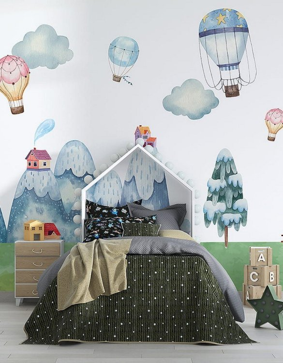 Sure to be adored by little ones, the Mountain Land Children's Wallpaper is a fun addition to any nursery or playroom. Go on an adventure with our kid's wallpaper for children's rooms! A well-chosen pattern can visually enlarge the interior.