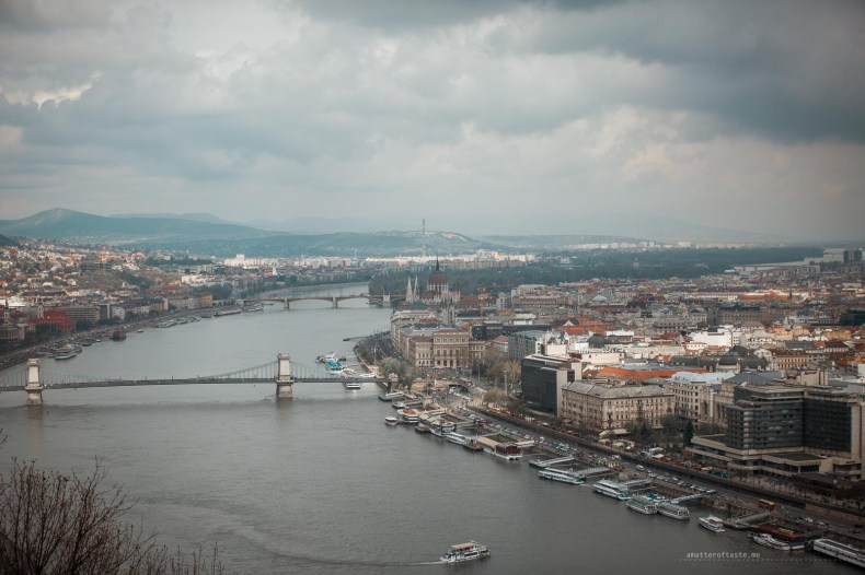 View from the top of Gellert hill with Danube river dominating the scene.