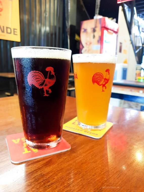 Dark and blonde pints on a table in the Hen House.