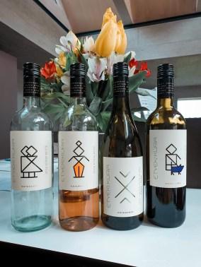Four bottles of different wines from Etyek region.