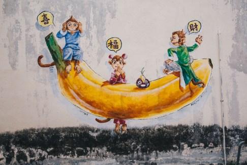 Ipoh street art monkeys
