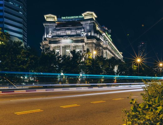 Night view of the Fullerton Hotel in Singapore