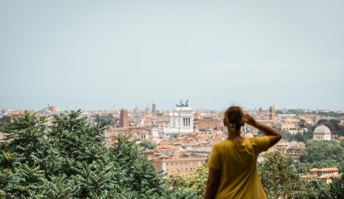 Me (out of focus) looking over Rome from a great viewpoint.