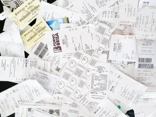 My traditional shot of a pile of receipts for our purchases from the month.