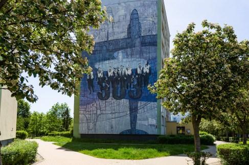 Street art in Gdansk - aviation themed murals
