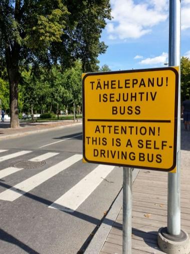 Tallinn City - self driving bus sign