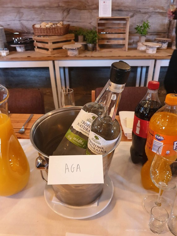A must have of every Polish wedding - vodka. This is a bucket whith two bottles which was placed in front of me and has my name tag on it.