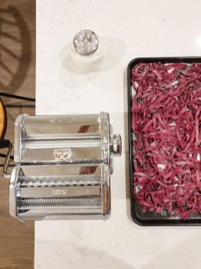 home made beetroot pasta