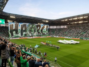"""Right before the match: players are on the field, everyone is cheering and a section of the seats is covered by a huge sign which says """"Harc!"""" in Hngarian which means """"Fight!""""."""