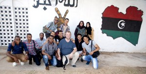 "Jan and his ""students"" during his media training in Sabbha, Libya."