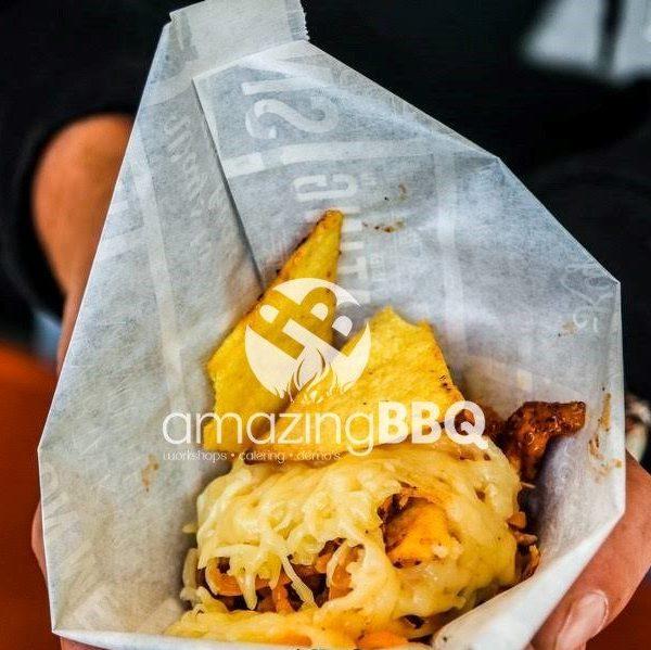 Dutch Oven pulled chicken nachos