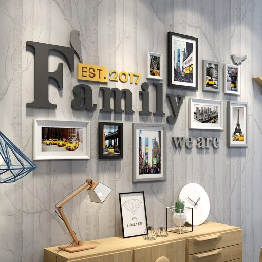 Family Word European Living Room Bedroom City Life Yellow Taxi Photo Frame Set