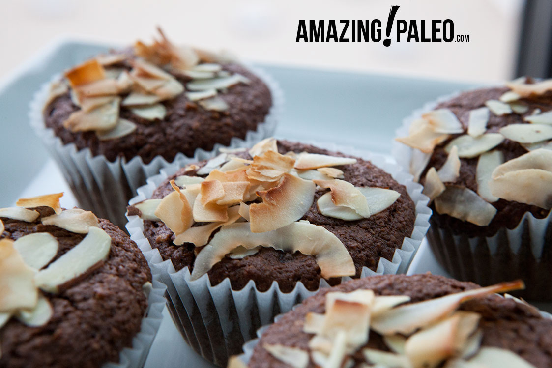 Paleo Dark Chocolate Coconut Muffins - by AmazingPaleo.com