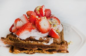 Paleo Diet Protein Waffle with Strawberry Topping Recipe