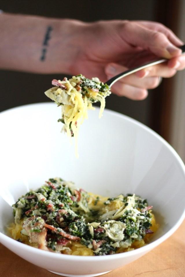 Spinach Artichoke And Bacon Spaghetti Squash