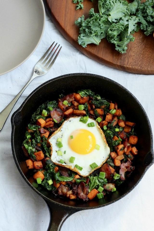 Sweet Potato Bacon Kale Hash for One