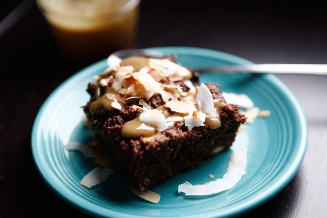 BROWNIES WITH CARAMEL AND TOASTED COCONUT FLAKES