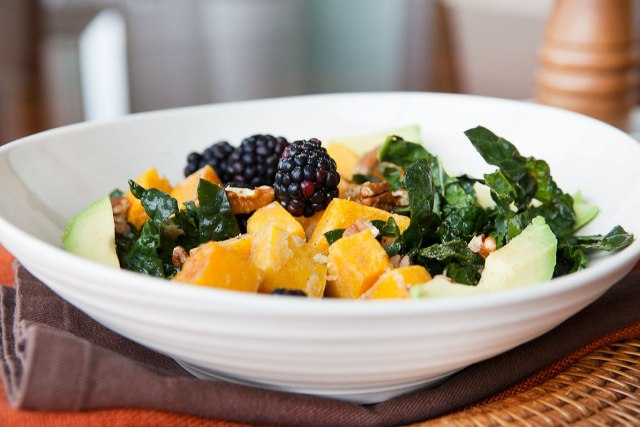 Squash and Blackberry Winter Kale Salad