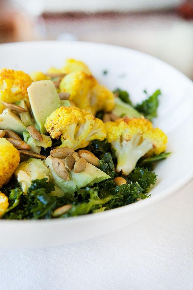 Turmeric Cauliflower Kale Salad with Roasted Pepitas