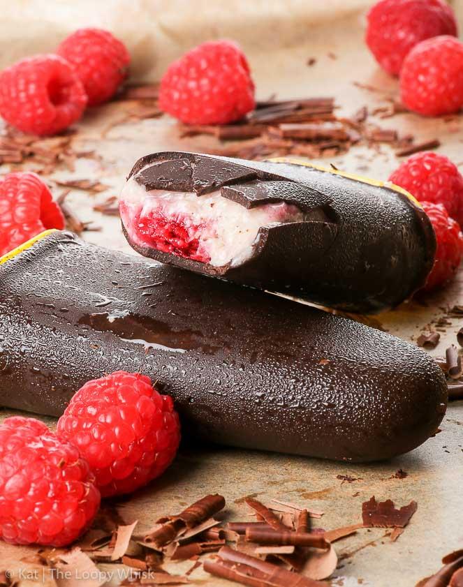 HEALTHY CHOCOLATE & RASPBERRY VEGAN ICE CREAM BARS