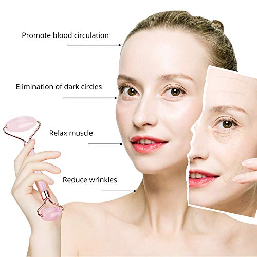 Jade Roller & Gua Sha, Face Roller, Facial Beauty Roller Skin Care Tools, BAIMEI Rose Quartz Massager for Face, Eyes, Neck, Body Muscle Relaxing and Relieve Fine Lines and Wrinkles 6