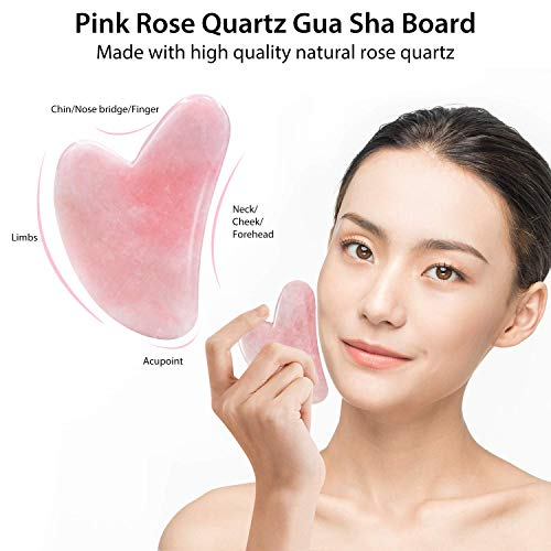 Jade Roller & Gua Sha, Face Roller, Facial Beauty Roller Skin Care Tools, BAIMEI Rose Quartz Massager for Face, Eyes, Neck, Body Muscle Relaxing and Relieve Fine Lines and Wrinkles 8
