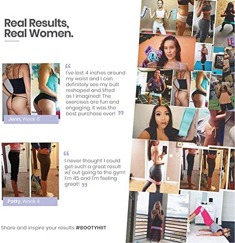 Fabric Non Slip Hip Resistance Bands and BootyHIIT Butt Workout Set by BTX Fifteen, Set of 3 Bands, 6 Week Program and Superfood Guide Included 11