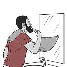 Tablier de Rasage de Barbe – Grand bavoir à ventouse pour récupérer les poils – Pochoir de coupe et