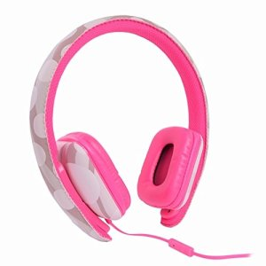 Ear Party Ch!c Buds Noise Cancelling Over-Ear Stereo Headphones w Inline Mic, Tangle-Free Flat Cable