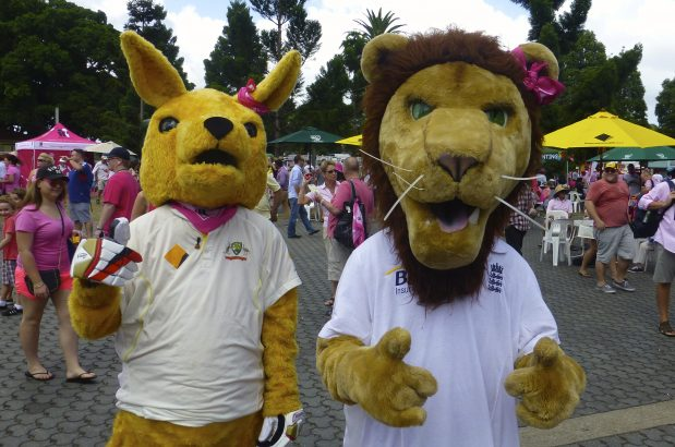 Australian and England mascots at the Ashes test