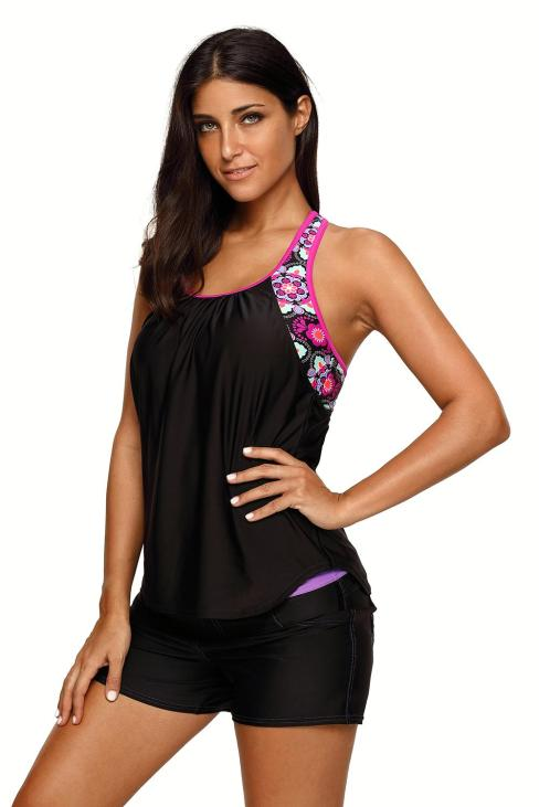 Amber Women's Blouson Floral T-Back Push Up Tankini Top Black