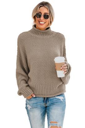 Rosario Women's Turtleneck Long Batwing Sleeve Oversized Chunky Sweater White