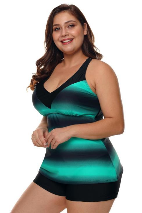 Knit Womens Criss Cross Blue Back Color Block Print Tankini Top with Boyshorts Swimsuit