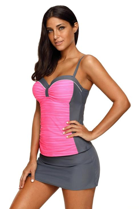 Citizens Women's Grey Ruched Tankini and Skirted Swimsuit Rosy