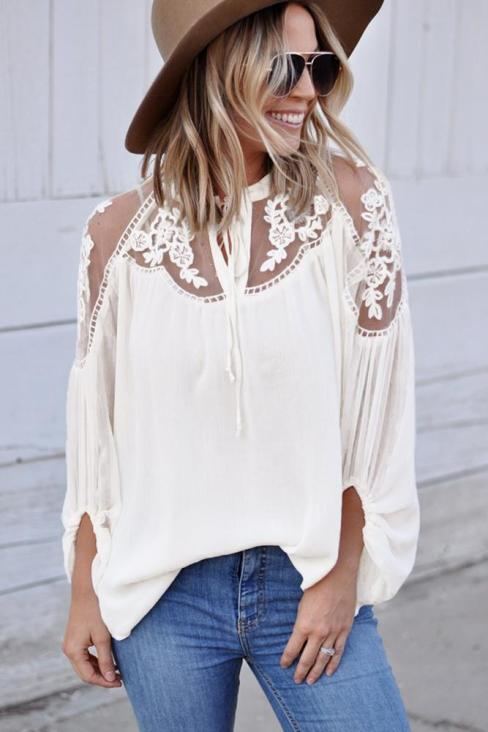 Ingrid Women Sexy V Neck Lace Patchwork Chiffon Blouses White