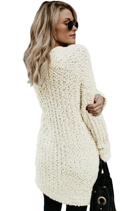 Jaime Women's Long Sleeve Soft Chunky Creamy Knit Sweater with Pockets