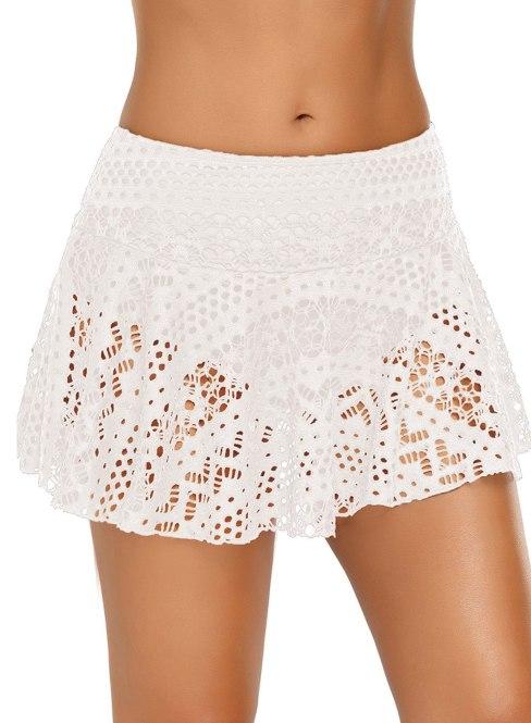 Hockney Women's Lace Crochet Skirted Bikini Bottom Short Skort Swimdress White