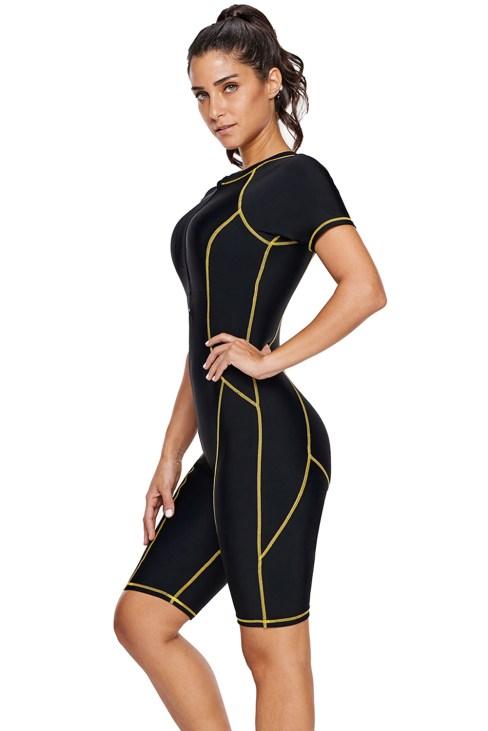 Lavinia Women's One Piece Short Sleeves Contoured Zip Front Wetsuit Swimsuit Black
