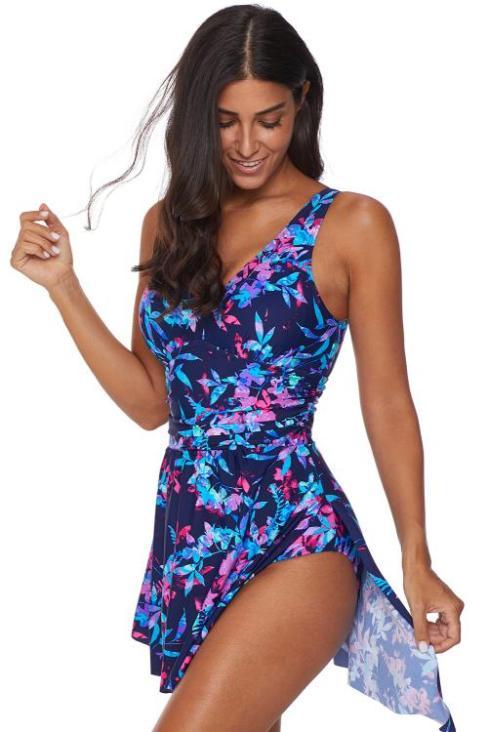 Leilani Women's Sexy Deep V Flower Printing One Piece Swimdress Swimsuit Blue