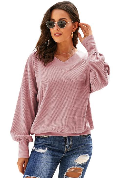 Carmela Women's V Neck Long Sleeve Knit Top Off Shoulder Pullover Sweater White