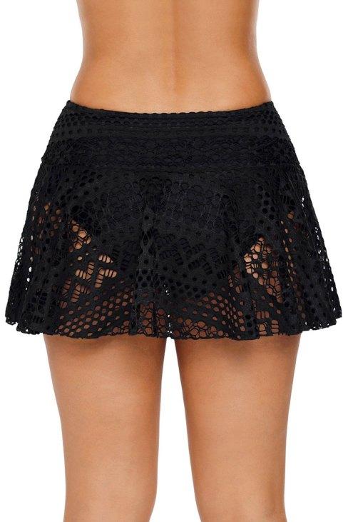 Lynnie Women Crochet Lace Bikini Bottom Swim Lace Skirt Swimsuit Black