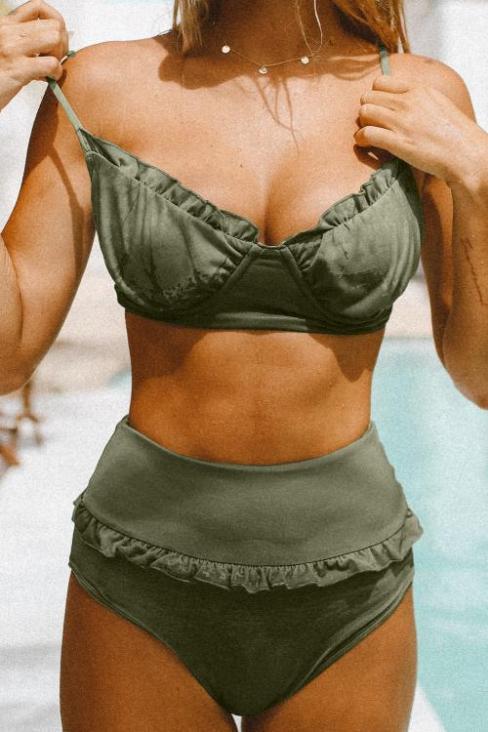 Anya Women's Sexy Fruit Print Ruffled High Waist Bikini Swimsuit Purple