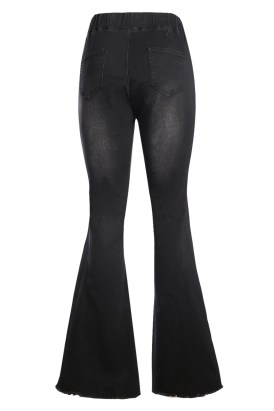 Painterly Women's Distressed Bell Bottom Denim Pants Black